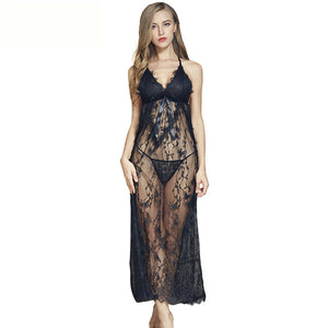 Sexy lace side slit long night dress
