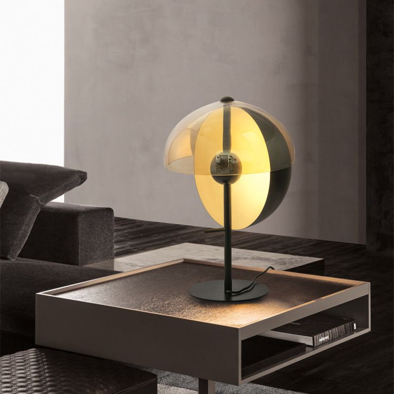 Thiea M Table Lamps for Living Room, Amber Glass Shade
