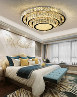 led crystal ceiling light flush mount with Stepless Remote