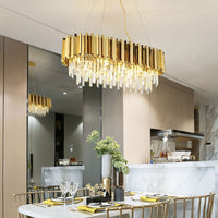 rectangular crystal drop chandelier
