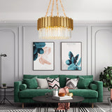 round drum crystal chandelier