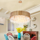 round gold crystal chandelier