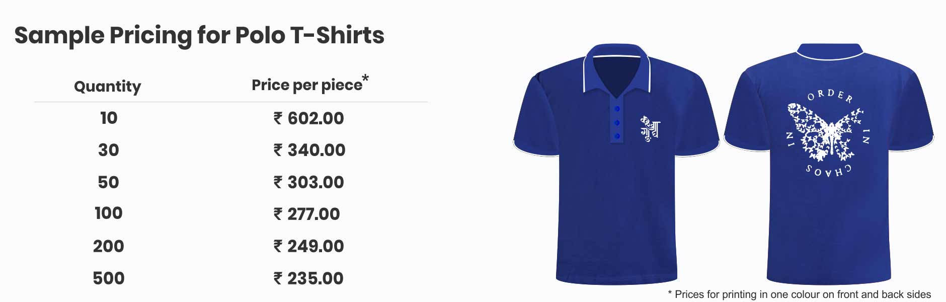 Prices for Customized T-Shirts
