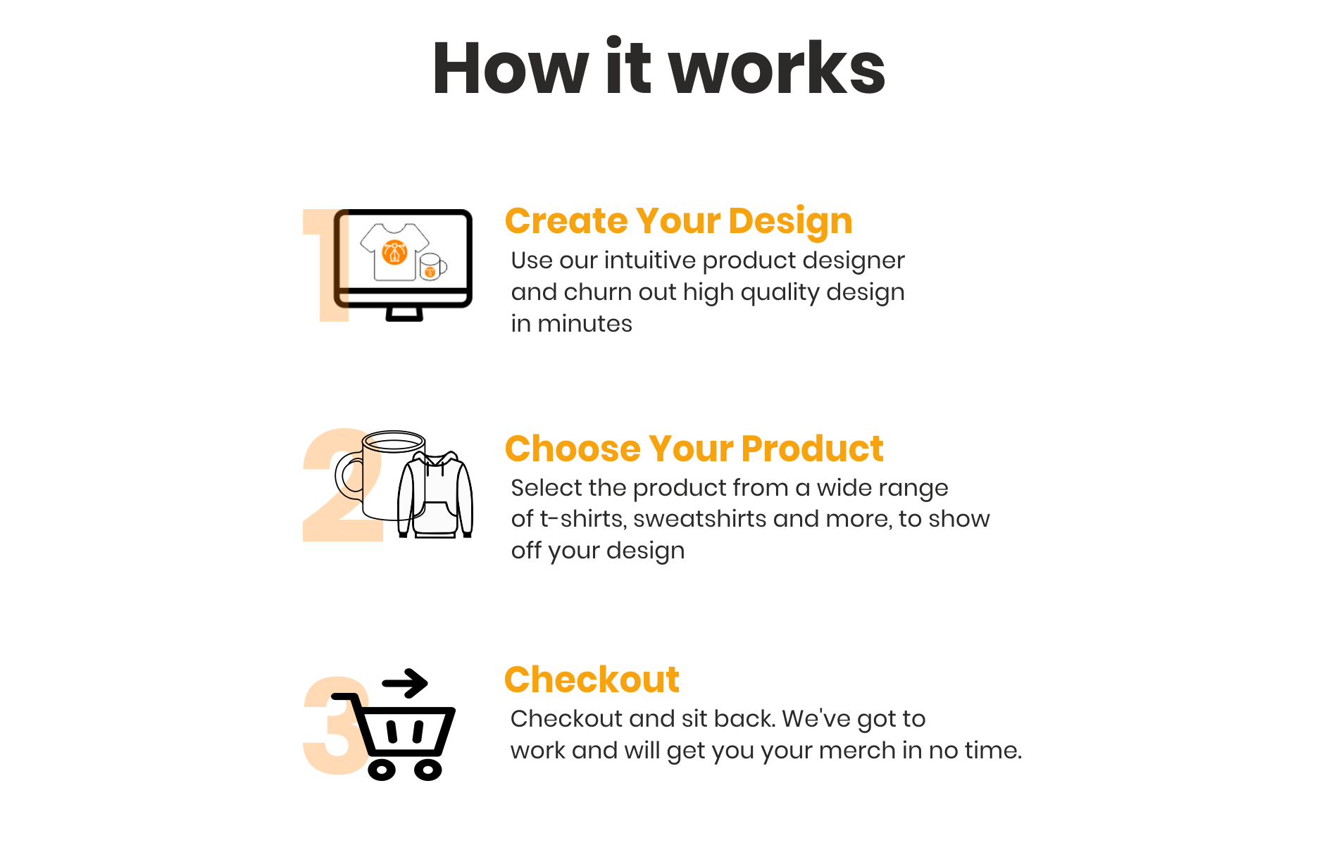Create your Design, Choose your product and Checkout