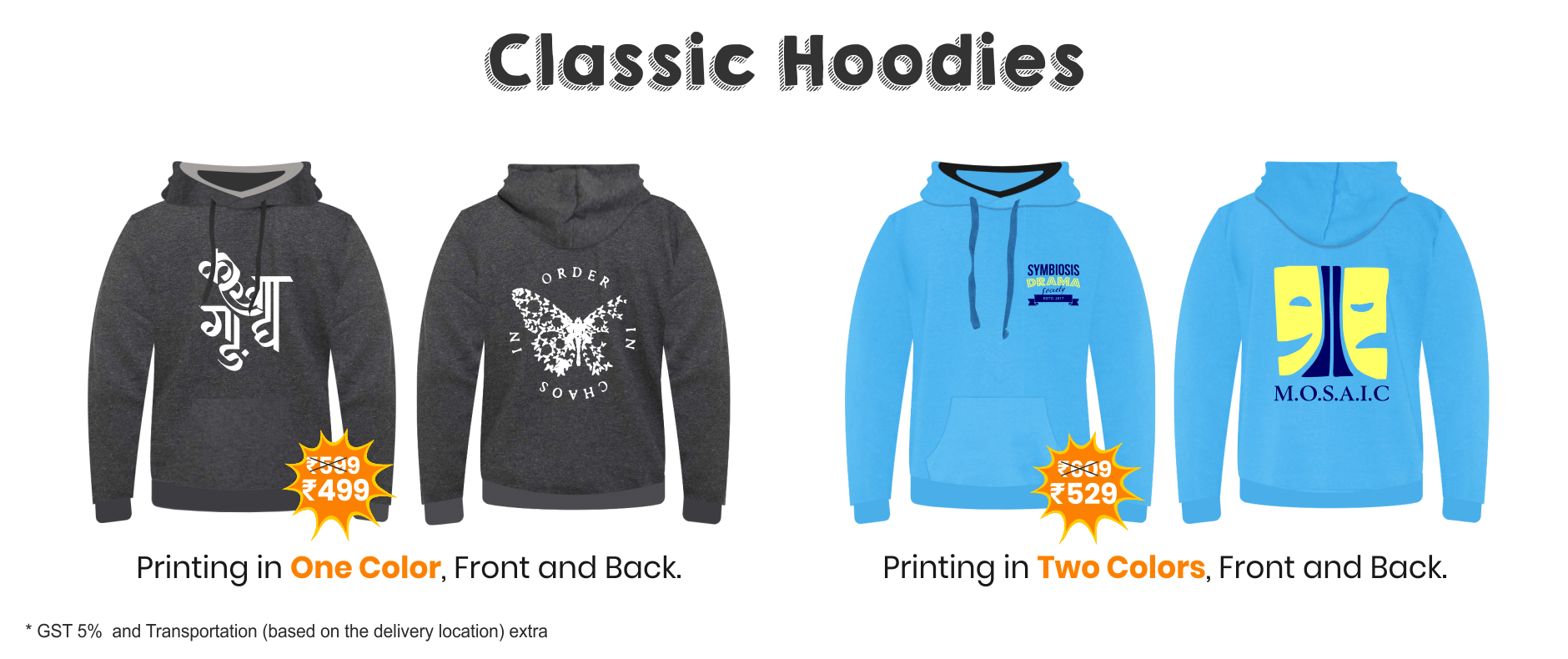 Pricing for Classic Hoodies for Fest