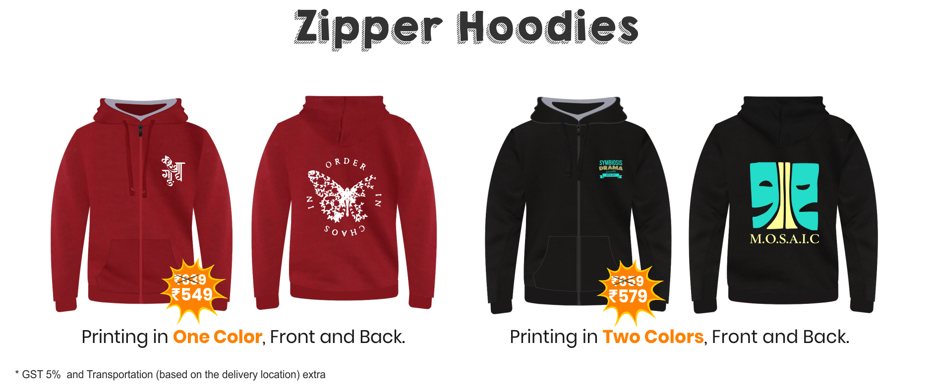 Pricing for Zipper Hoodies for Fest