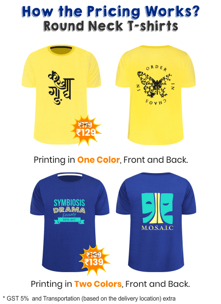 Pricing for Round Neck Fest T-shirts