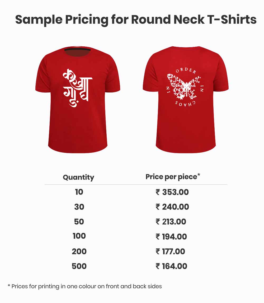 Pricing for custom t-shirts