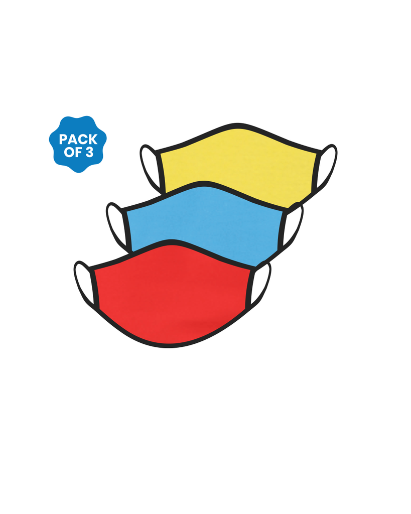 FACE PROTECTOR WITH EAR LOOP - RED, YELLOW , TURQUOISE COLOUR (Pack of 3)
