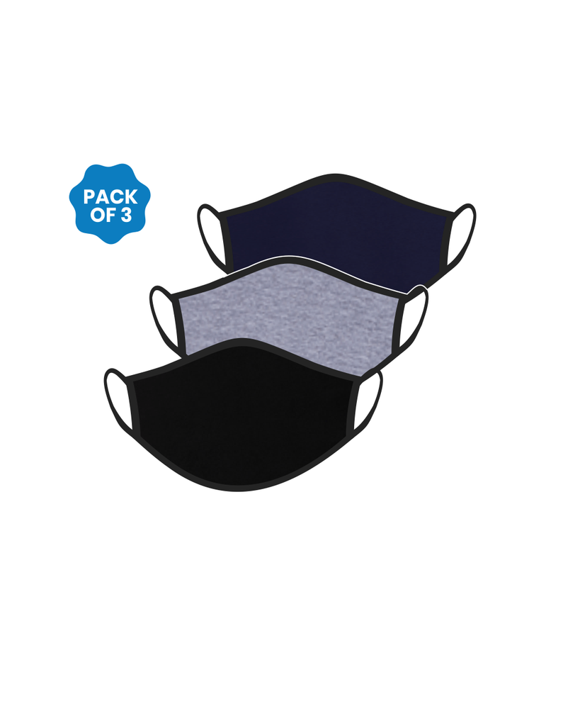 FACE PROTECTOR WITH EAR LOOP - BLACK, NAVY BLUE , GREY COLOUR (Pack of 3)