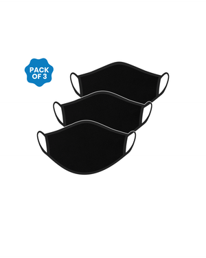FACE PROTECTOR WITH EAR LOOP - BLACK COLOUR (Pack of 3)