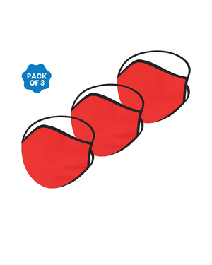 FACE PROTECTOR WITH LONG LOOP - RED COLOUR (Pack of 3)