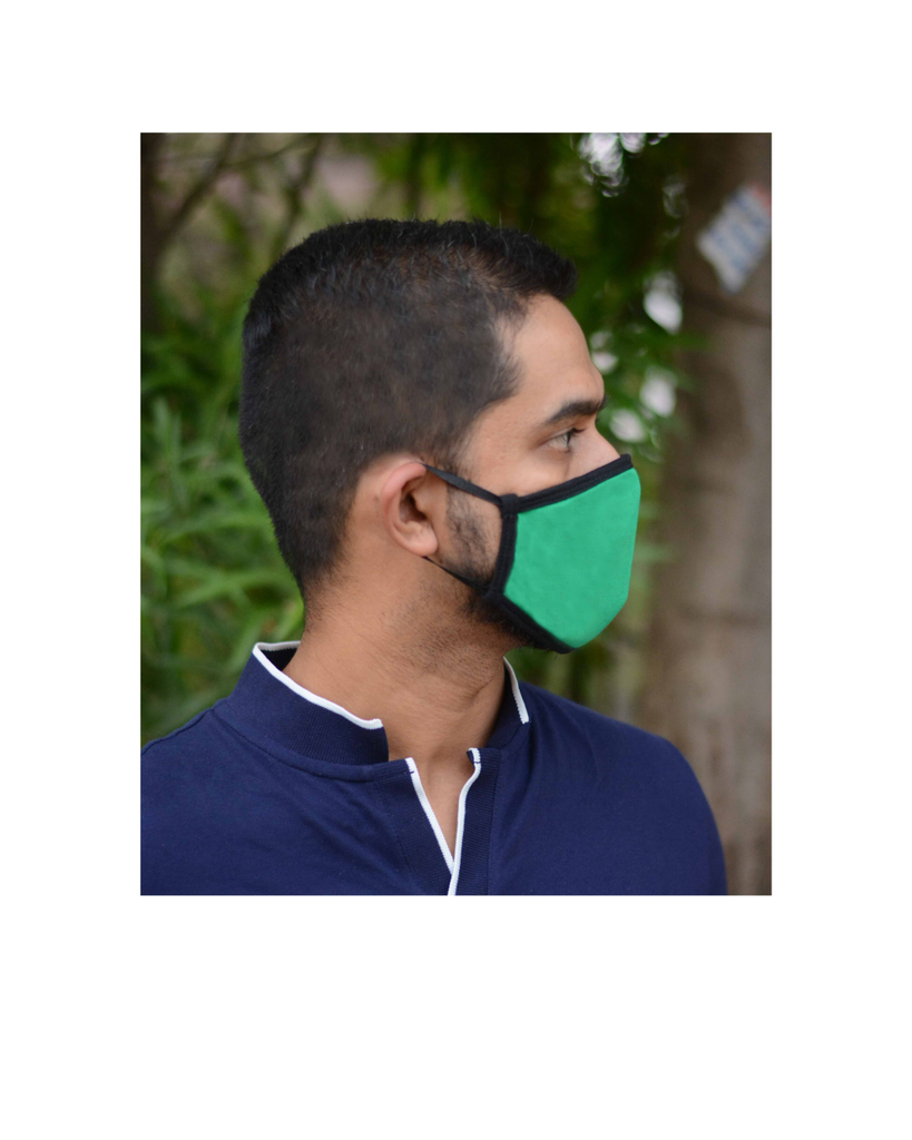 FACE PROTECTOR WITH EAR LOOP - GREEN COLOUR (Pack of 3)