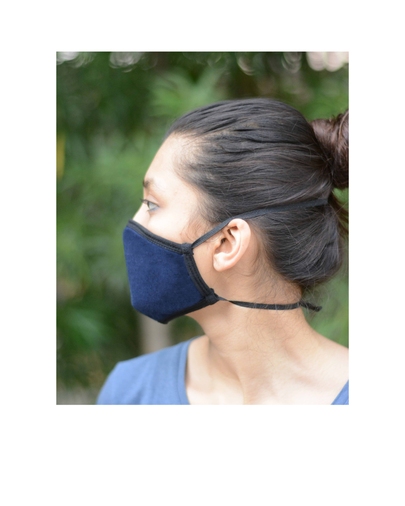 FACE PROTECTOR WITH LONG LOOP - NAVY BLUE , GREY , ROYAL BLUE COLOUR (Pack of 3)
