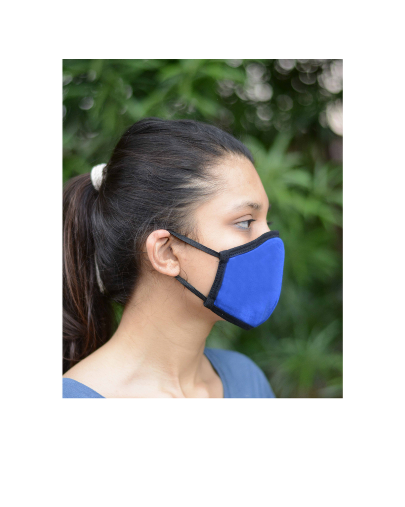 FACE PROTECTOR WITH EAR LOOP - NAVY BLUE , GREY , ROYAL BLUE COLOUR (Pack of 3)