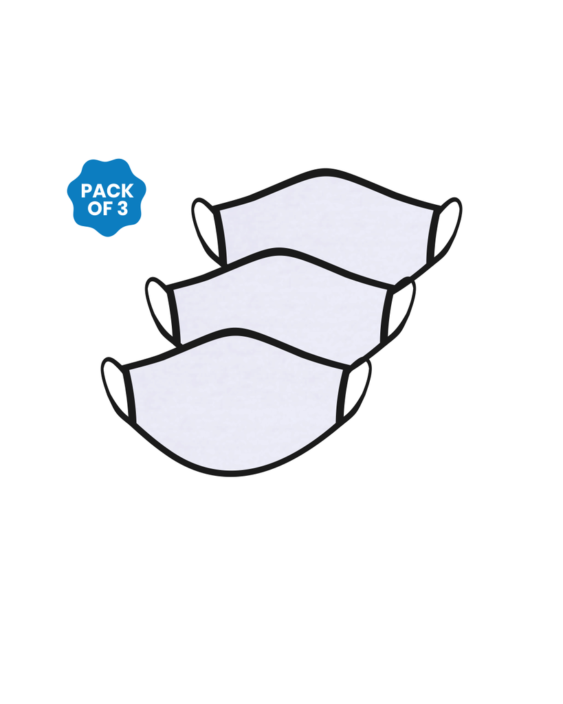 FACE PROTECTOR WITH EAR LOOP - WHITE COLOUR (Pack of 3)