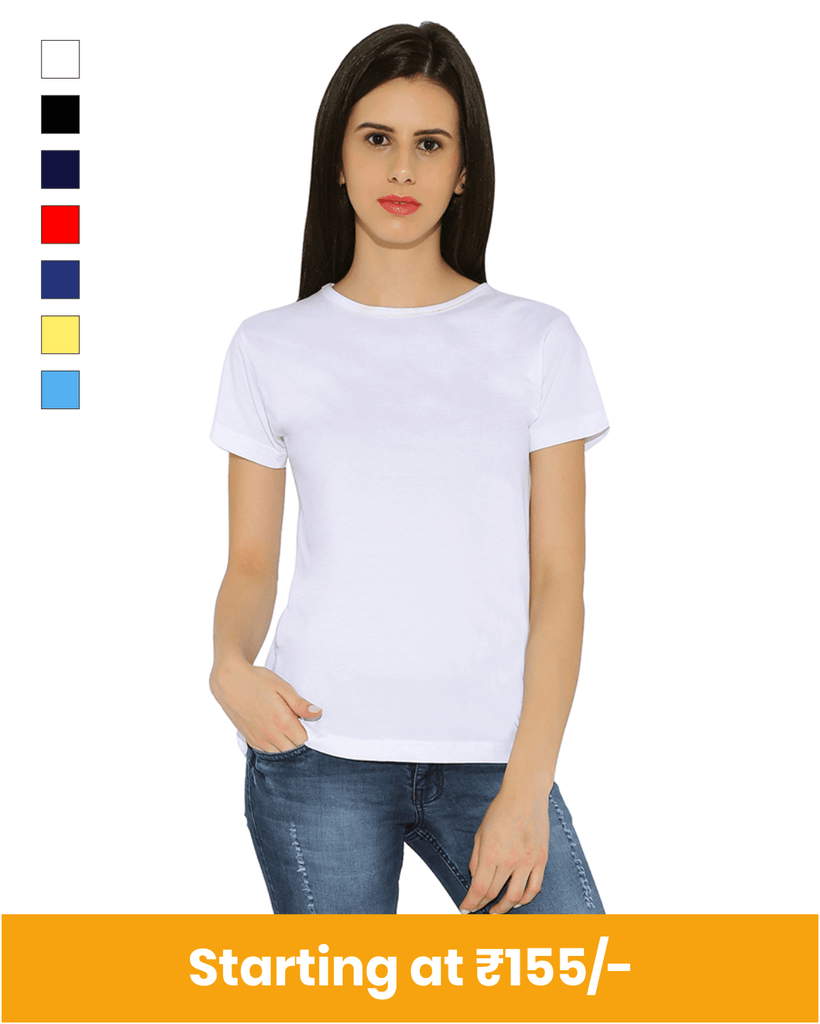 Premium Cotton Round Neck Feminine T-Shirts for Customization