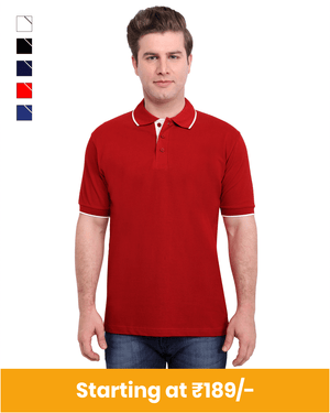 Collar Neck Cotton T-Shirt for Customization