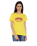 Punjabi University Round Neck T-Shirts for Women - Curved Design - Maroon and White