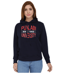 Punjabi University Classic Hoody for Women - Punjabi University Est 1947 - Red and White Art