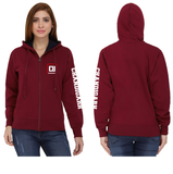 Chandigarh University Zipper Hoody for Women - CU Sleeve Design