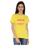 Panjab University Round Neck T-shirt for Women - Panjab University Est 1947 - Red and White Art