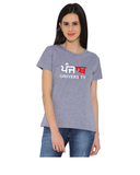 Panjab University Round Neck T-shirts for Women - Panjab in Panjabi Design - Red and White Art