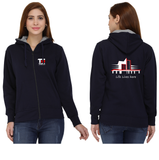 Thapar University Zipper Hoodie for Women - Life Lives Here with Crest Design