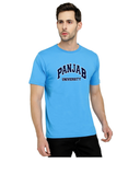 Panjab University Round Neck T-Shirts for Men - Curved Design - Blue and White Art