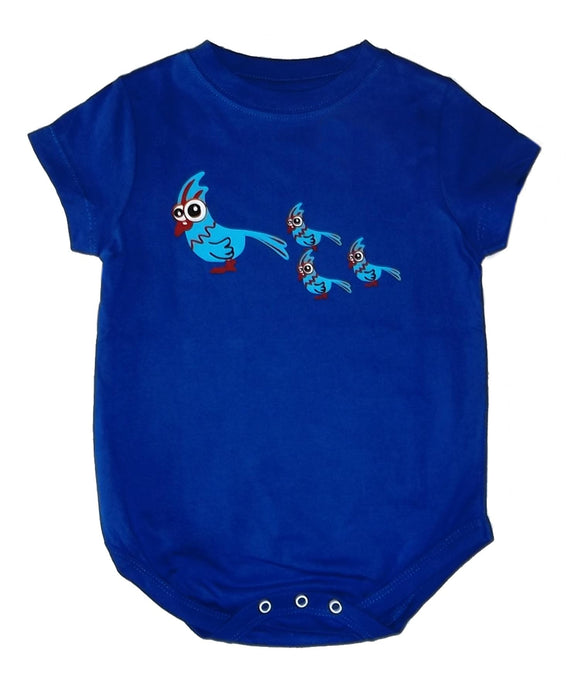 Baby Onesie Bird Royal Blue