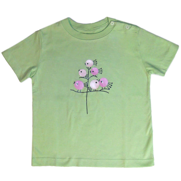 Baby T-Shirts Chick On Tree Soft Green