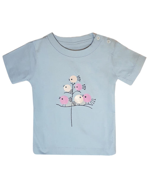 Baby T-Shirts Chick On Tree Light Blue