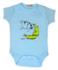 Baby Onesie Cow & Moon Light Blue