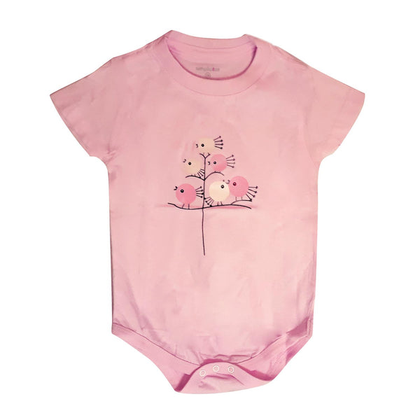 Baby Onesie Chick On Tree Pink