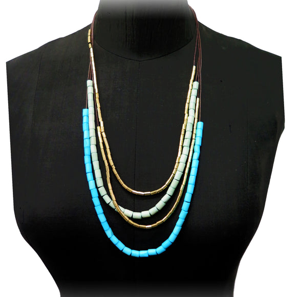 Code Necklace with Pipe Shaped Beads