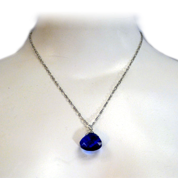 Blue Glass Stone Necklace