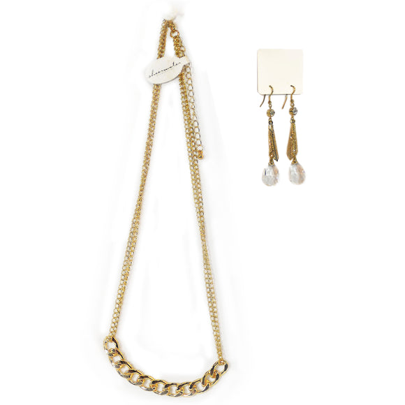 Goldtone Necklace & Drop Earrings