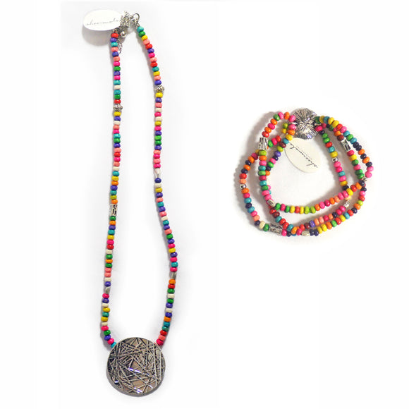 Multi-Colored Beads Necklace & Bracelet