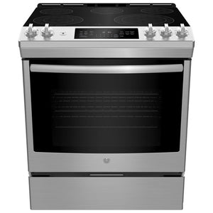 "Refurbished LG 30"" 6.3 Cu. Ft. True Convection 5-Element Slide-In Smooth Top Electric Range - Stainless Steel"