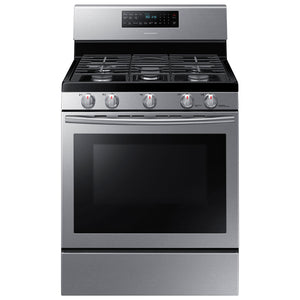 "Samsung 30"" 5.8 Cu. Ft. Freestanding Self-Clean Gas Convection Range (NX58H5600SS) -Stainless Steel"