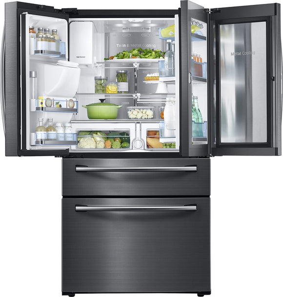 Samsung - Showcase 27.8 Cu. Ft. 4-Door French Door Refrigerator - Black Stainless Steel