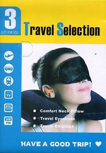 3 in 1 Travel Selection Comfort Neck PIllow, Travel Eye Shade Mask, Ear Plugs