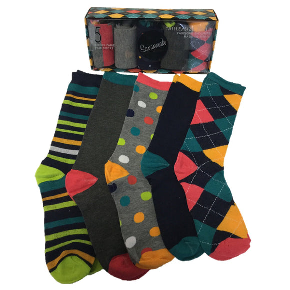 5 Pairs of Men's Dress Socks in a Gift Box