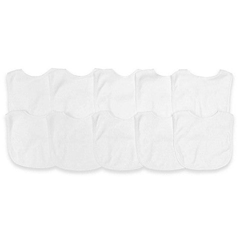 100% Cotton Plain White Bibs 10/15/20 Pack