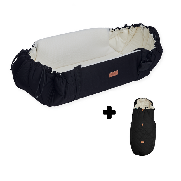 Paket: Najell SleepCarrier Babynest Vol. 2 + Åkpåse Winter Cover Quilt Matte Black