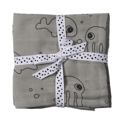 Done by Deer 2-pack Muslinfiltar Sea friends Grå
