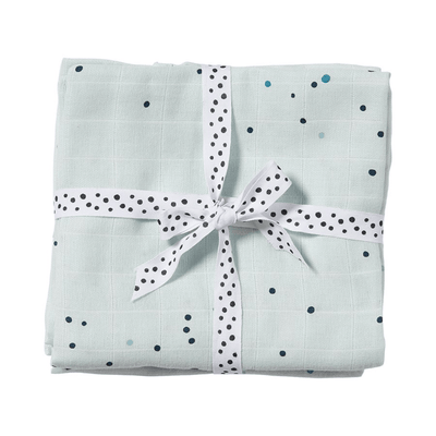 Done by Deer 2-pack Muslinfiltar Dreamy dots Blå