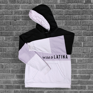 Wild & Latina Lilac/Black Women Hoodie with brushed fleece inside