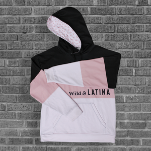 Wild & Latina Rose/Black Women Hoodie with brushed fleece inside.