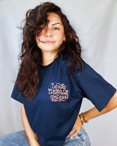 New Latinas Do Everything con Ganas Crop Tee with Embroidery